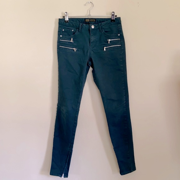 Zara Teal Skinny Jeans Mid-Rise Ankle Zippers Edgy Moto Women's Size 4 Stretchy